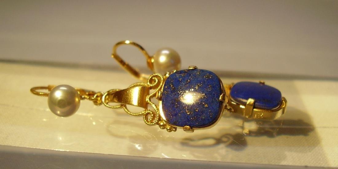 935 Silver Lapis lazuli Earrings Art deco - 6