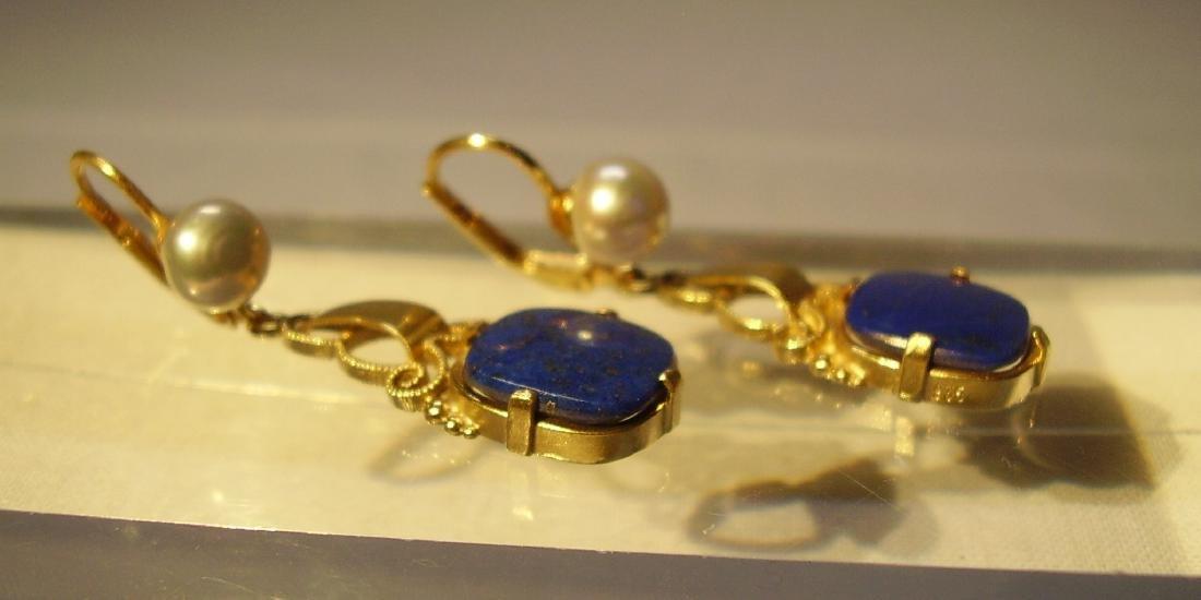 935 Silver Lapis lazuli Earrings Art deco - 7