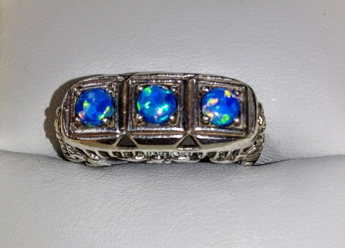 Vintage Deco Style Blue Opal Sterling Silver Ring