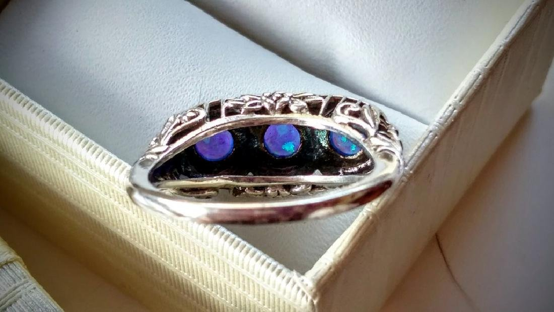 Vintage Deco Style Blue Opal Sterling Silver Ring - 3