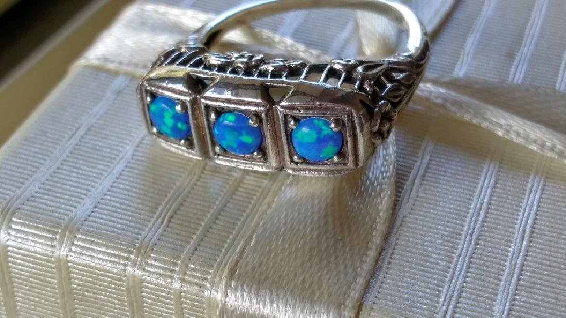 Vintage Deco Style Blue Opal Sterling Silver Ring - 4