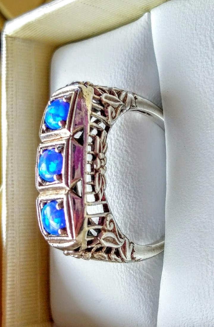 Vintage Deco Style Blue Opal Sterling Silver Ring - 5