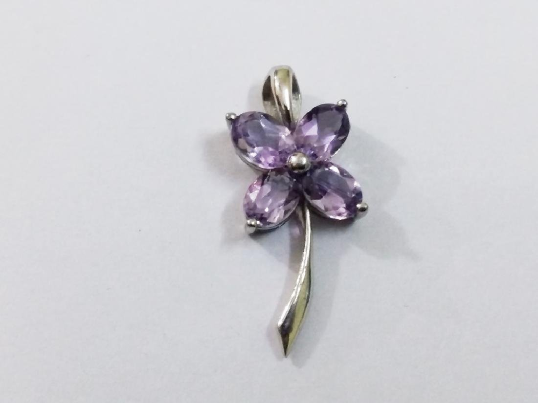 925 Sterling Silver Pendant with Natural Amethyst