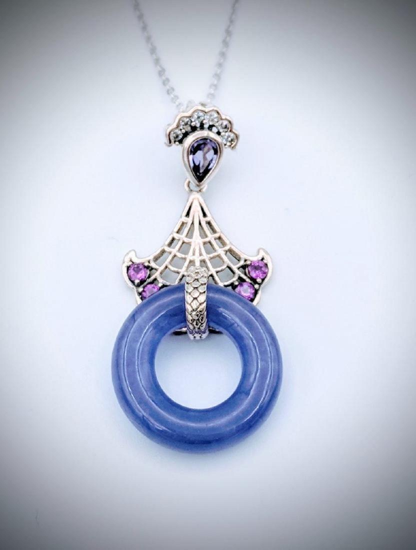 Sterling Silver Violet Jade Amethyst Necklace