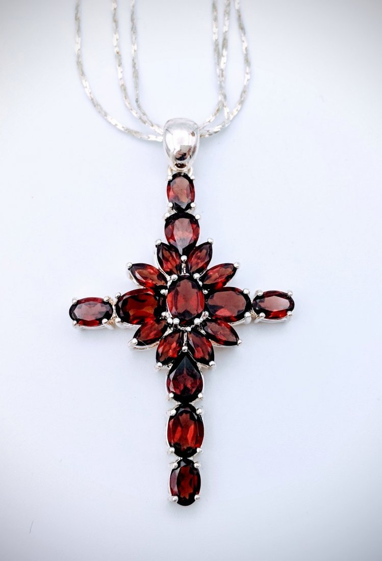 Sterling Silver Almandine Garnet Cross Necklace