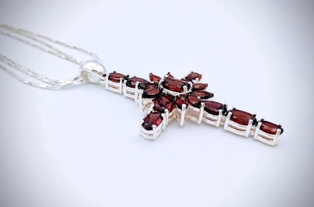 Sterling Silver Almandine Garnet Cross Necklace - 2