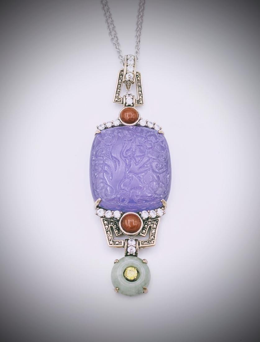 Sterling Violet Jade Jasper Jade Citrine Necklace