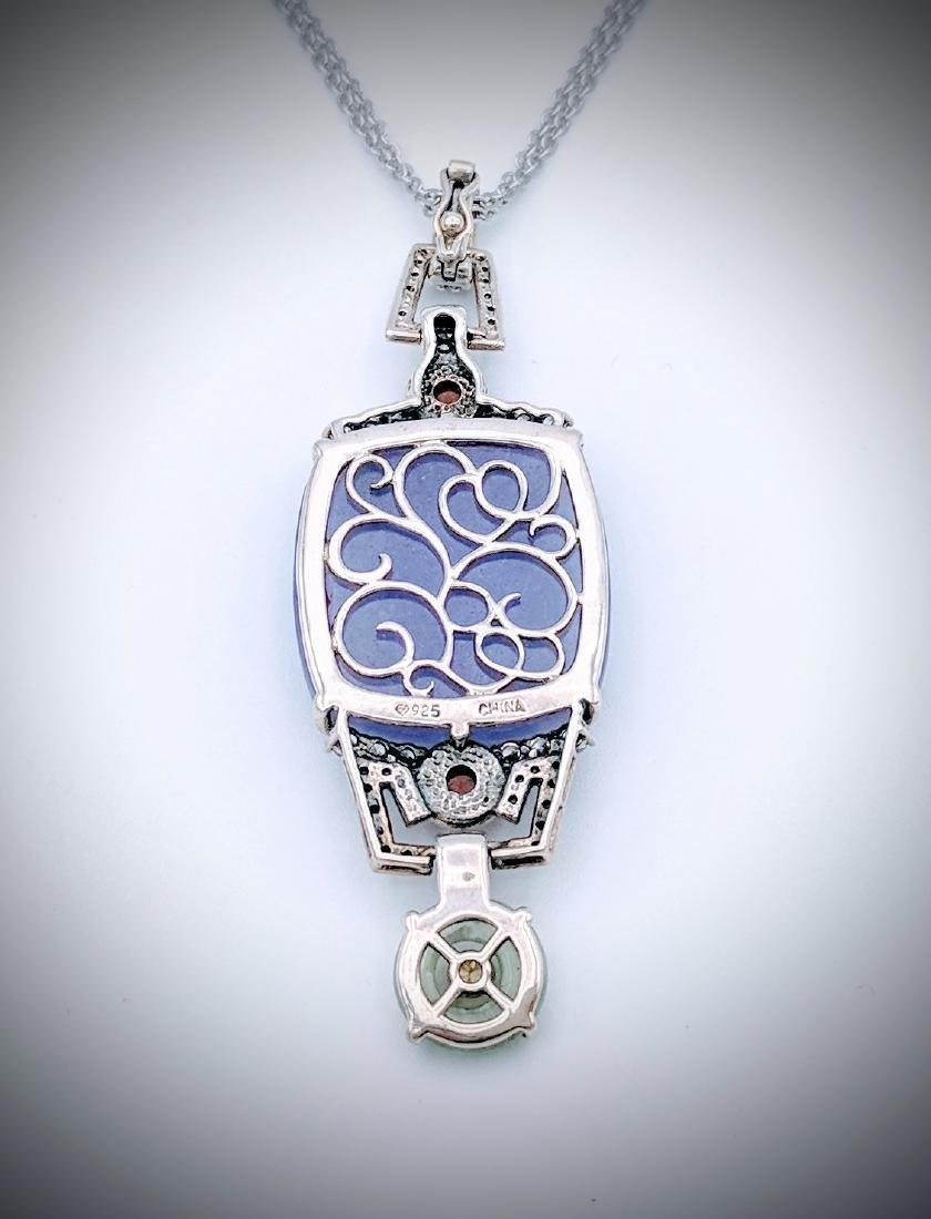 Sterling Violet Jade Jasper Jade Citrine Necklace - 2