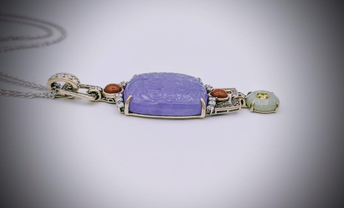 Sterling Violet Jade Jasper Jade Citrine Necklace - 3