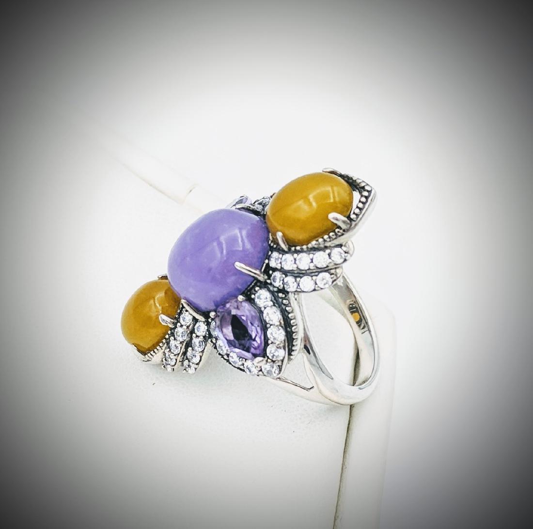 Sterling Silver Jade Amethyst Cubic Zirconia Ring - 2