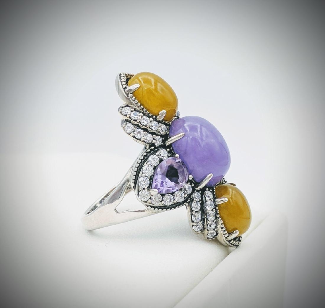 Sterling Silver Jade Amethyst Cubic Zirconia Ring - 4
