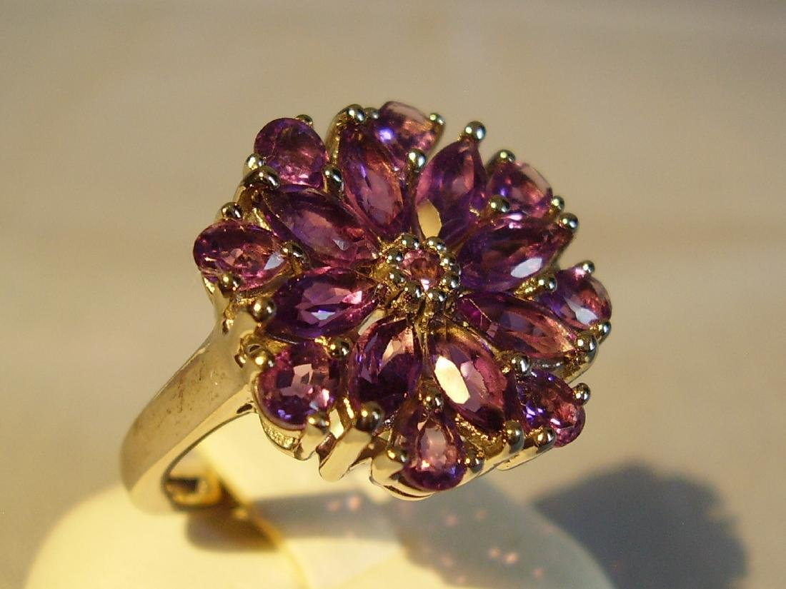 Fine Sterling Silver Amethyst Cocktail ring, 28ctw