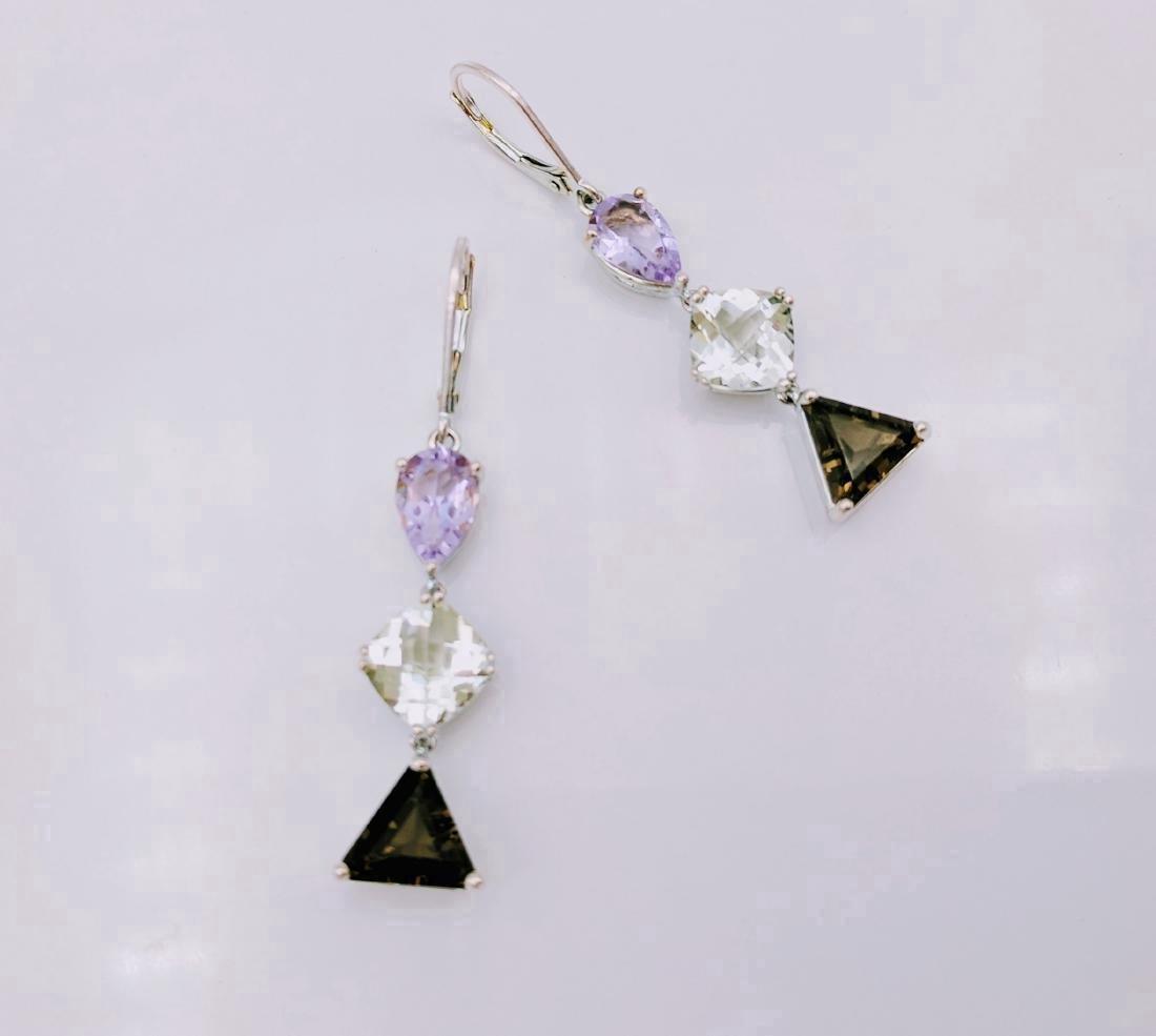 Sterling Silver Amethyst Hiddenite Quartz Earrings