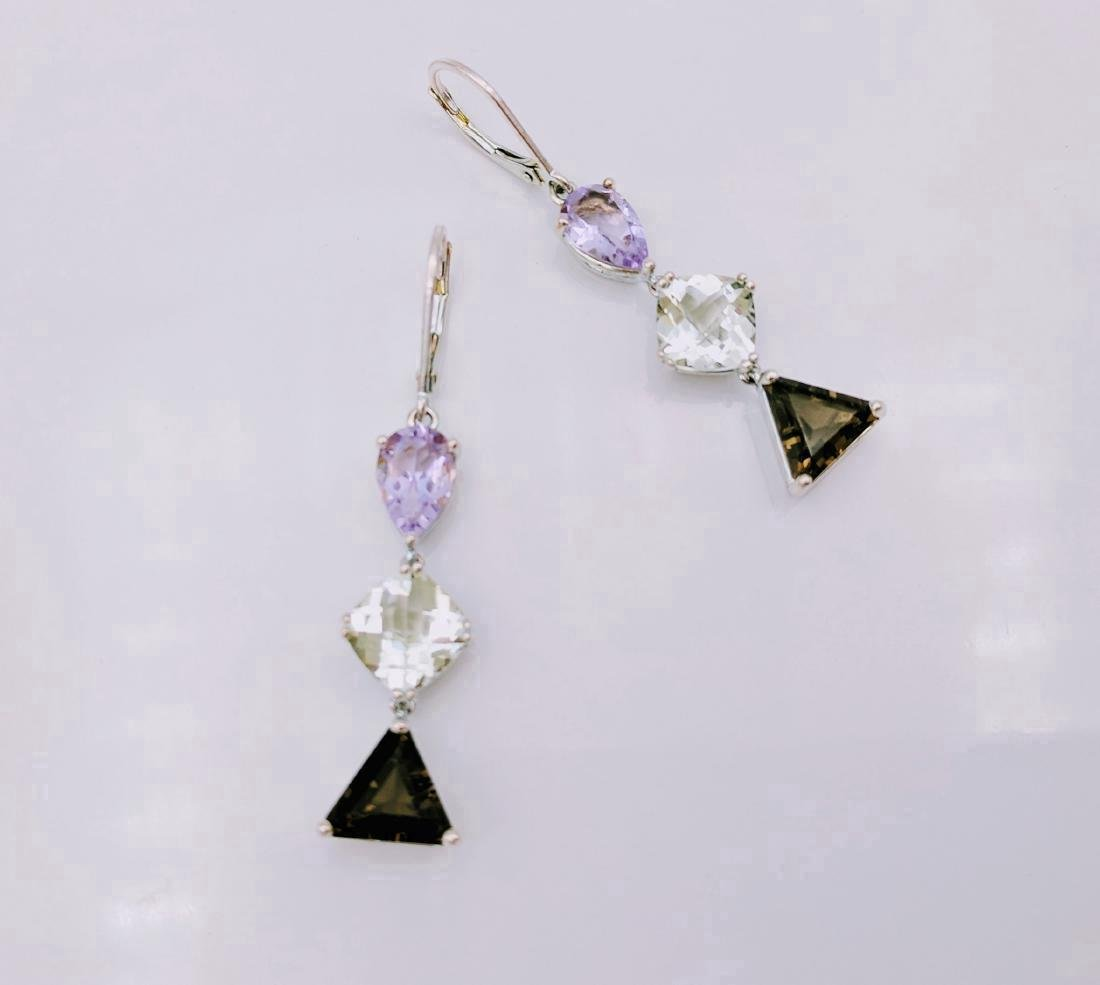 Sterling Silver Amethyst Hiddenite Quartz Earrings
