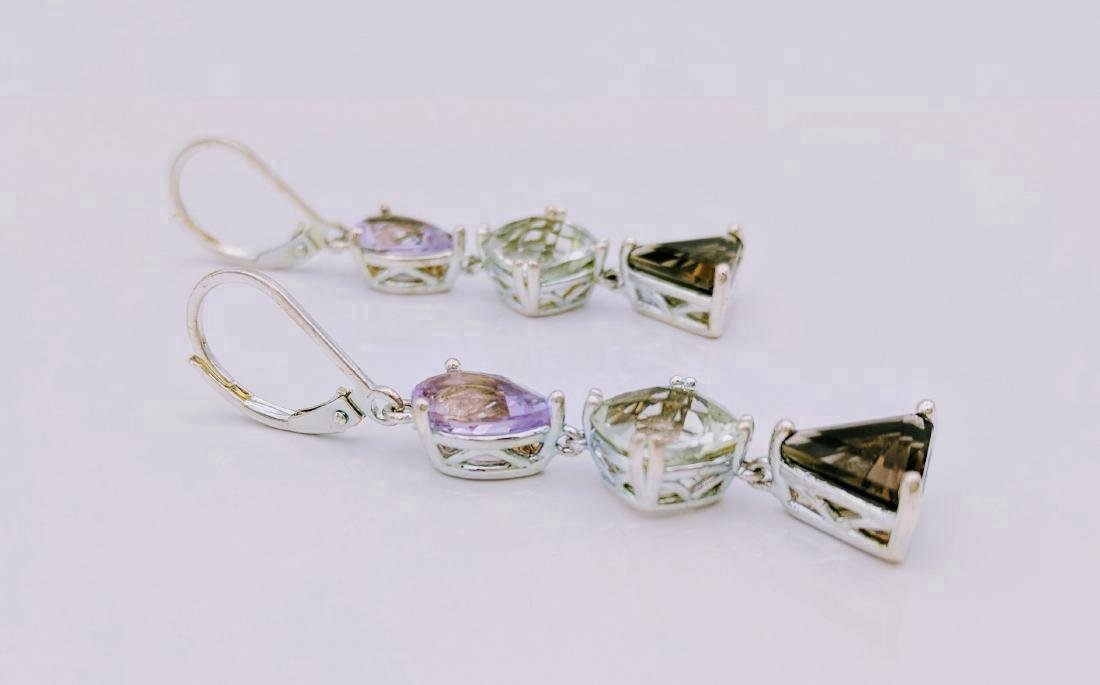 Sterling Silver Amethyst Hiddenite Quartz Earrings - 2