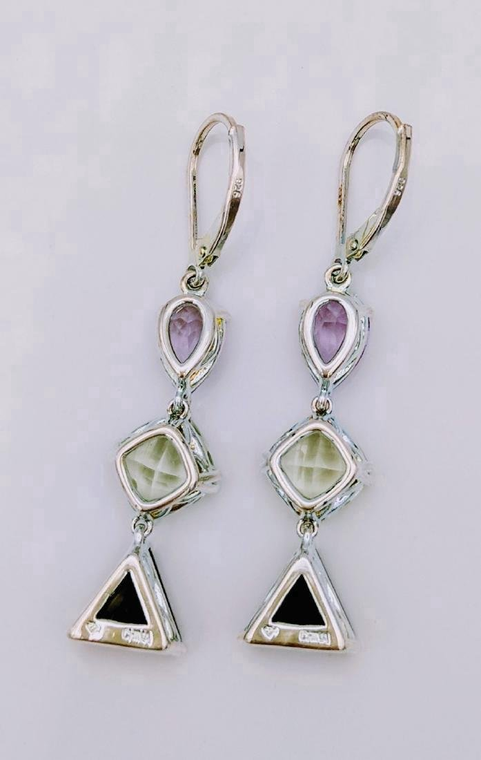 Sterling Silver Amethyst Hiddenite Quartz Earrings - 3
