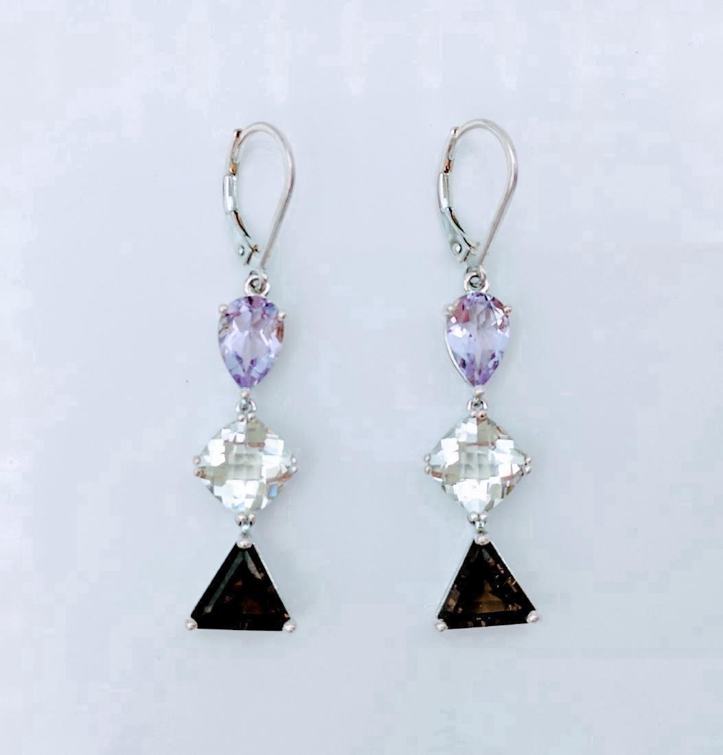 Sterling Silver Amethyst Hiddenite Quartz Earrings - 4