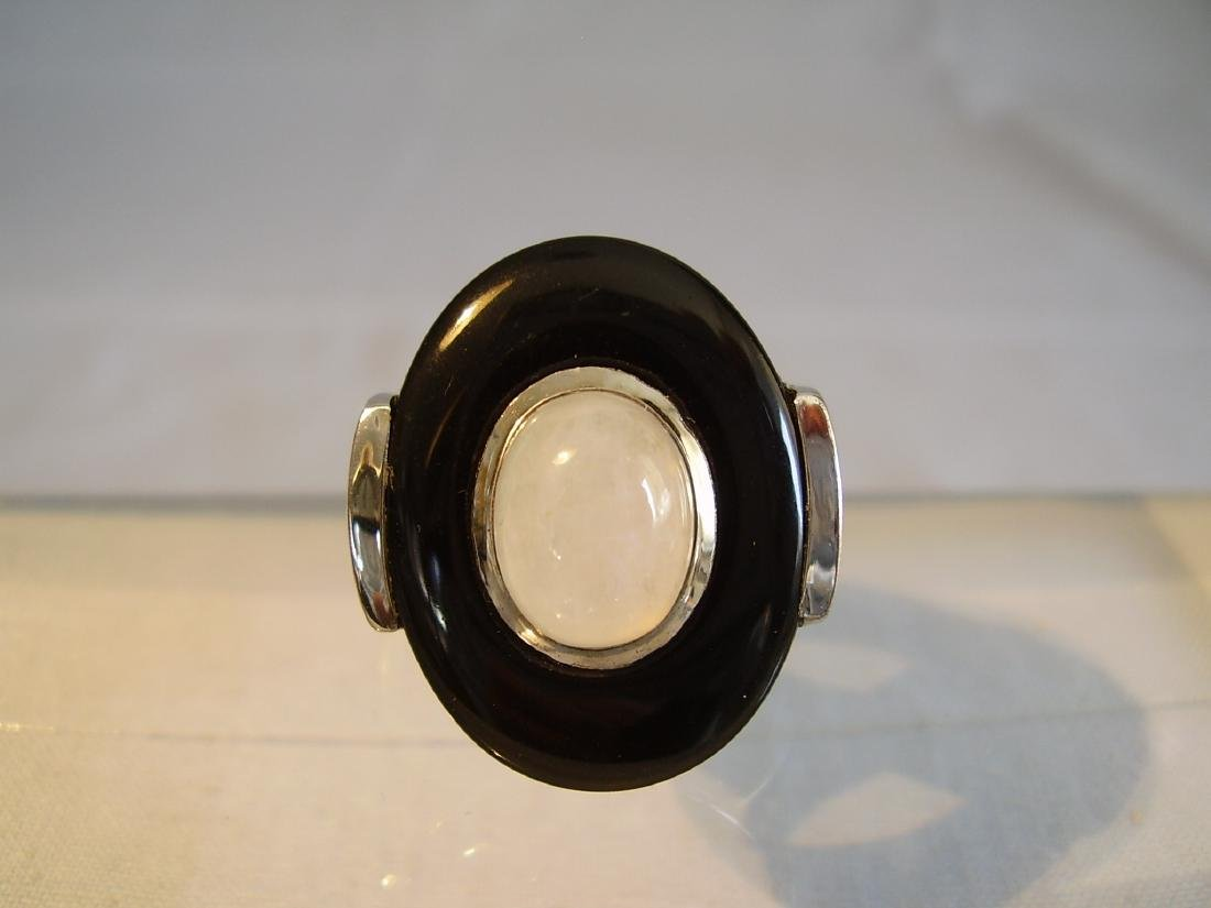 Sterling Silver Ring with black obsidian and moonstone - 4