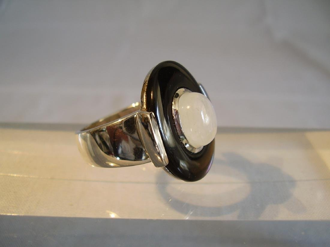 Sterling Silver Ring with black obsidian and moonstone - 6