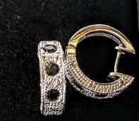 14K White Gold Black Sapphire and Diamond Earrings