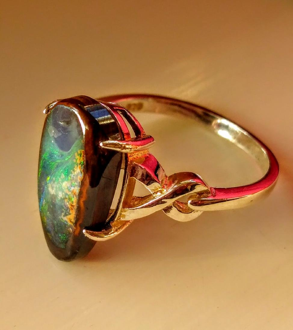 Sterling Silver Australian Lightning Ridge Opal Ring