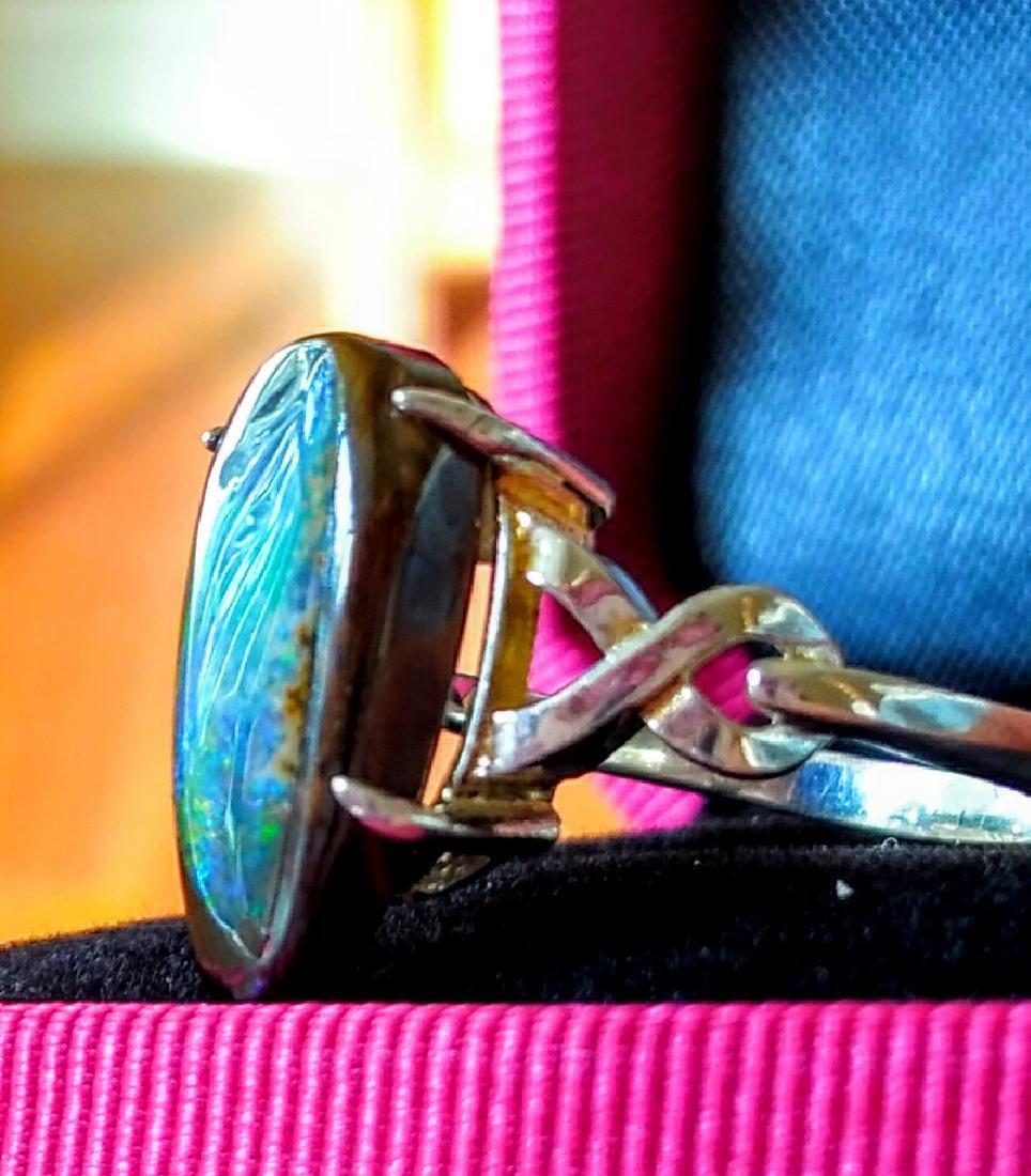 Sterling Silver Australian Lightning Ridge Opal Ring - 3