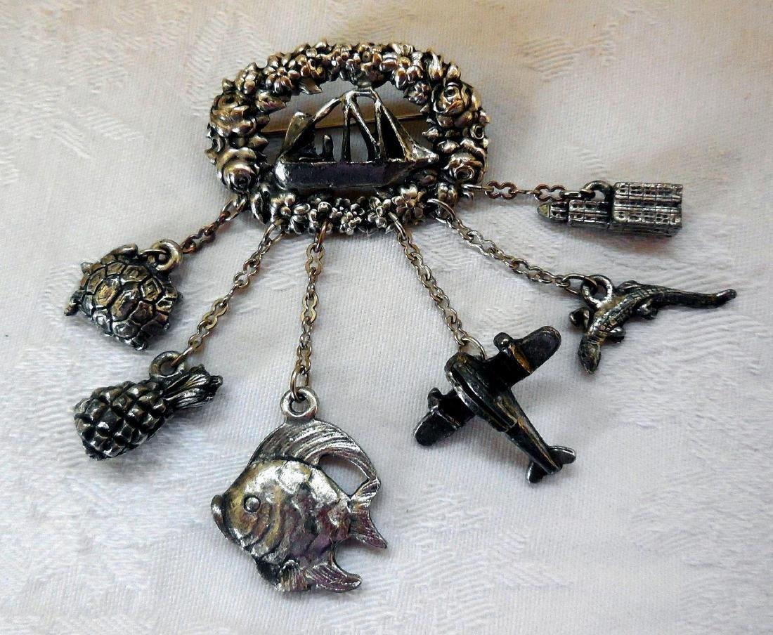 Vintage Chatelaine Charm Brooch