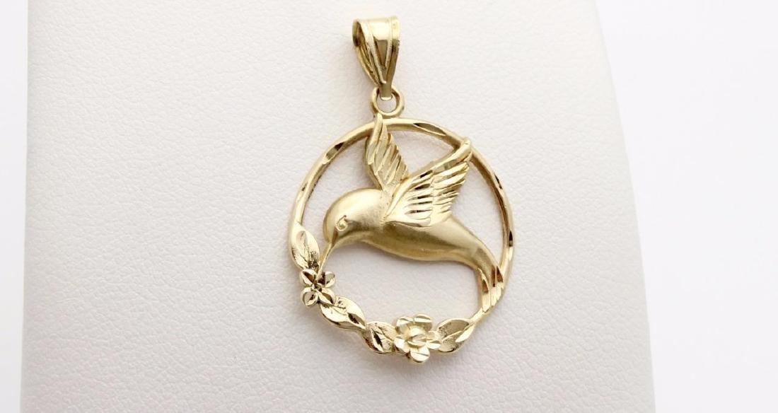 14K Yellow Gold Hummingbird Pendant