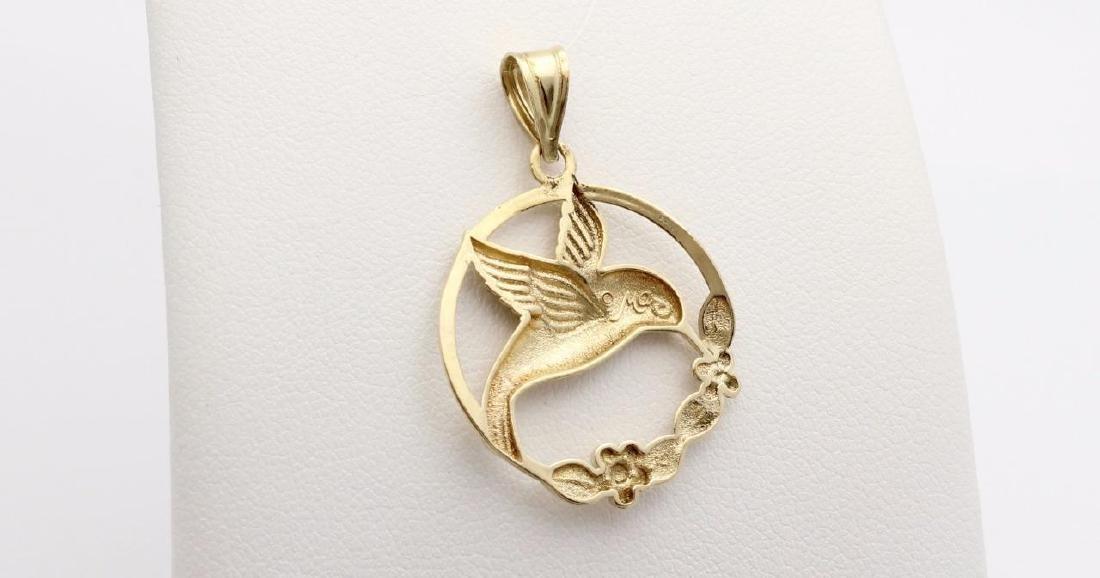 14K Yellow Gold Hummingbird Pendant - 3