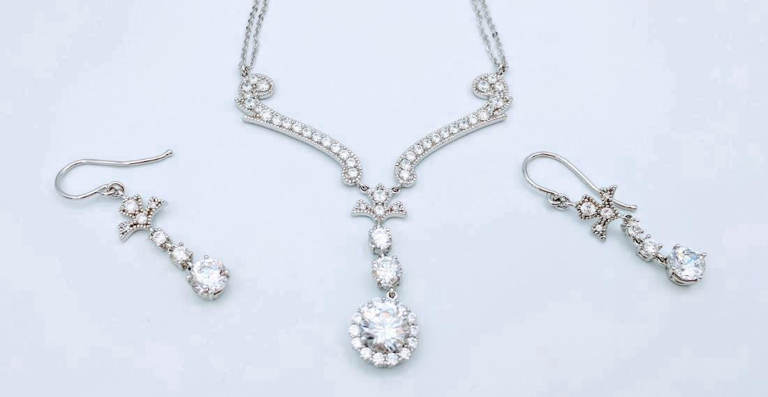 Sterling Silver Cubic Zirconia Necklace & Earring Set