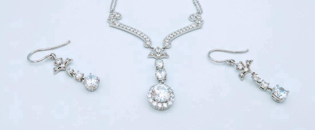 Sterling Silver Cubic Zirconia Necklace & Earring Set - 2