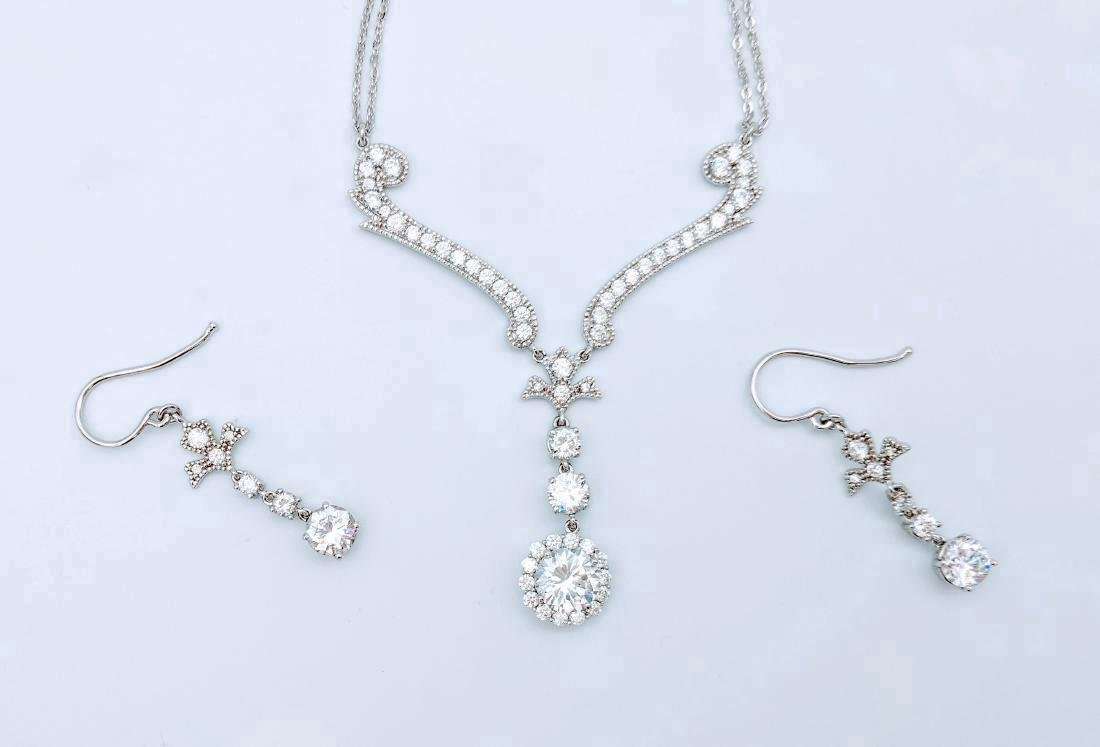 Sterling Silver Cubic Zirconia Necklace & Earring Set - 3