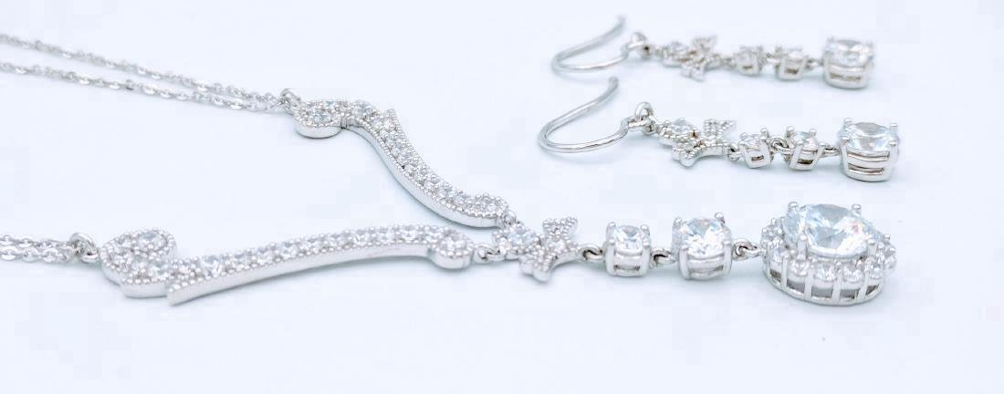 Sterling Silver Cubic Zirconia Necklace & Earring Set - 4