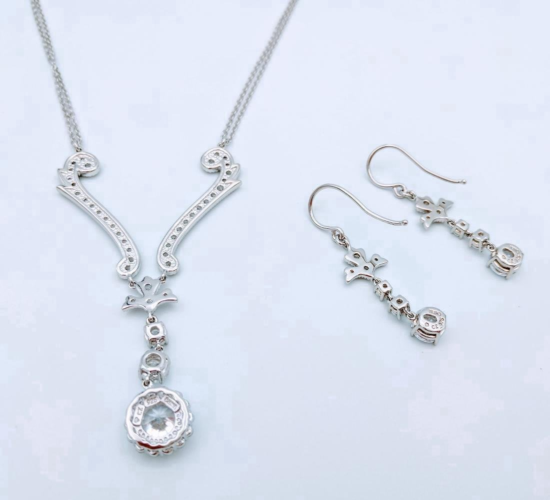 Sterling Silver Cubic Zirconia Necklace & Earring Set - 5