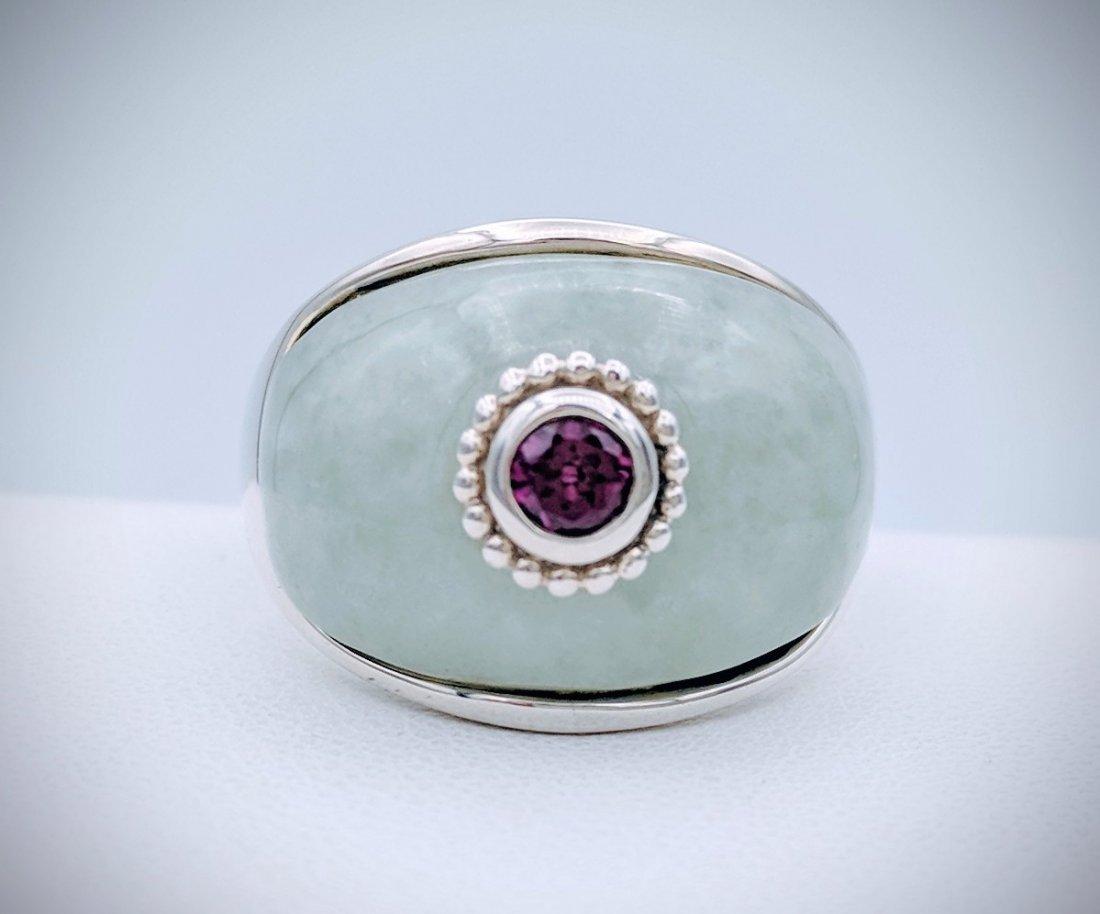 Sterling Silver Jade Raspberry Rhodolite Garnet Ring