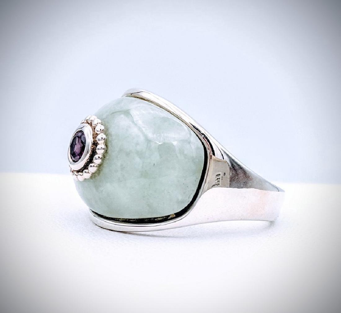 Sterling Silver Jade Raspberry Rhodolite Garnet Ring - 2