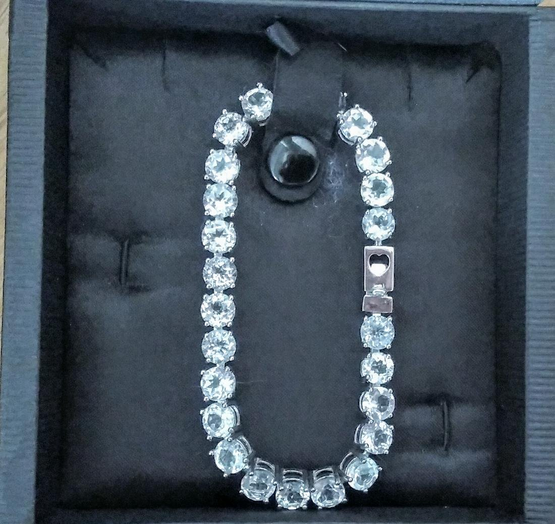 Sterling Silver Clear Topaz Tennis Bracelet