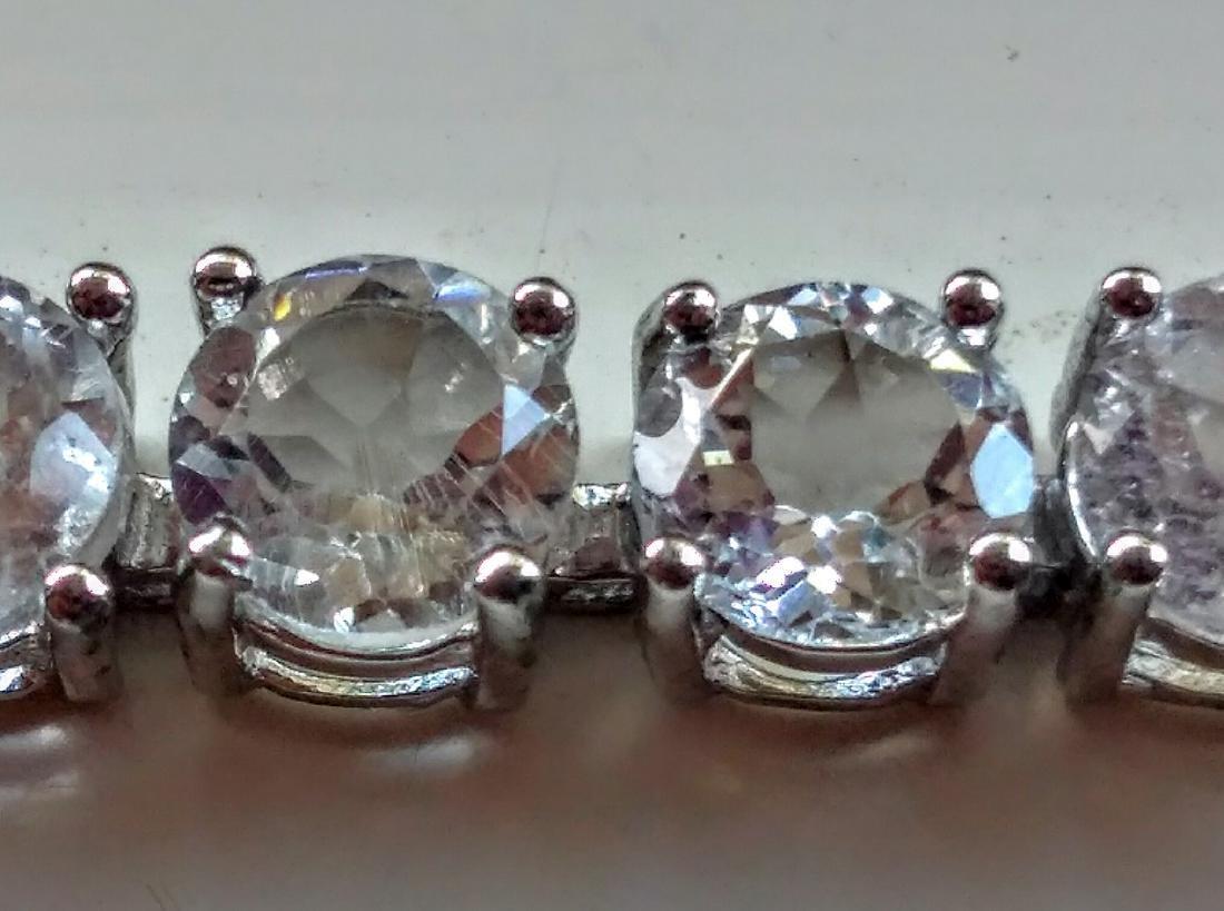 Sterling Silver Clear Topaz Tennis Bracelet - 5