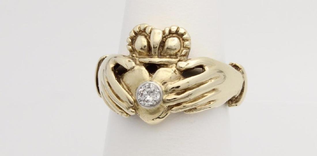 10k Yellow Gold Claddagh Ring with Diamonds