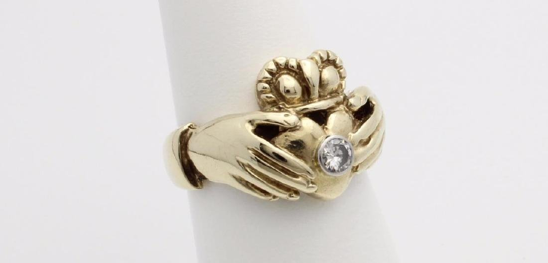 10k Yellow Gold Claddagh Ring with Diamonds - 3