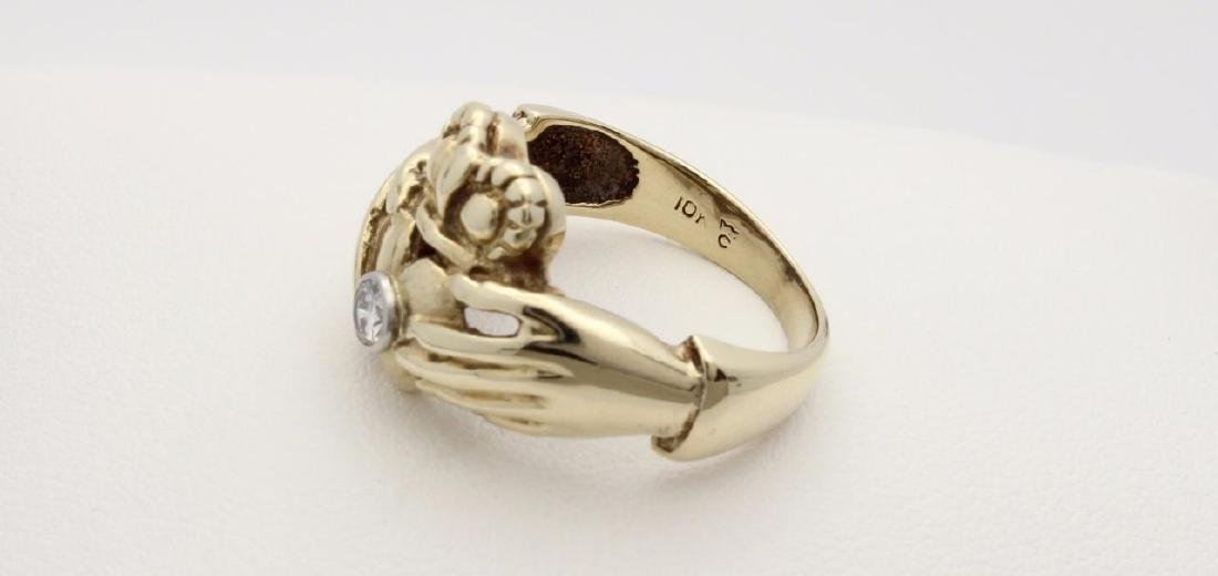 10k Yellow Gold Claddagh Ring with Diamonds - 4