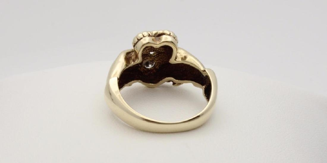 10k Yellow Gold Claddagh Ring with Diamonds - 5