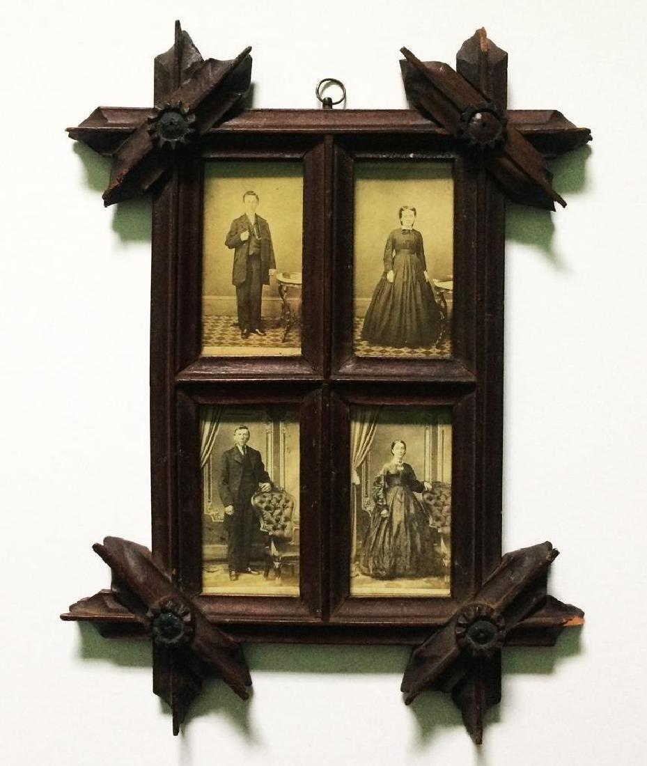 1860s Folk Art Hand Carved Wood Frame for 4 CDV