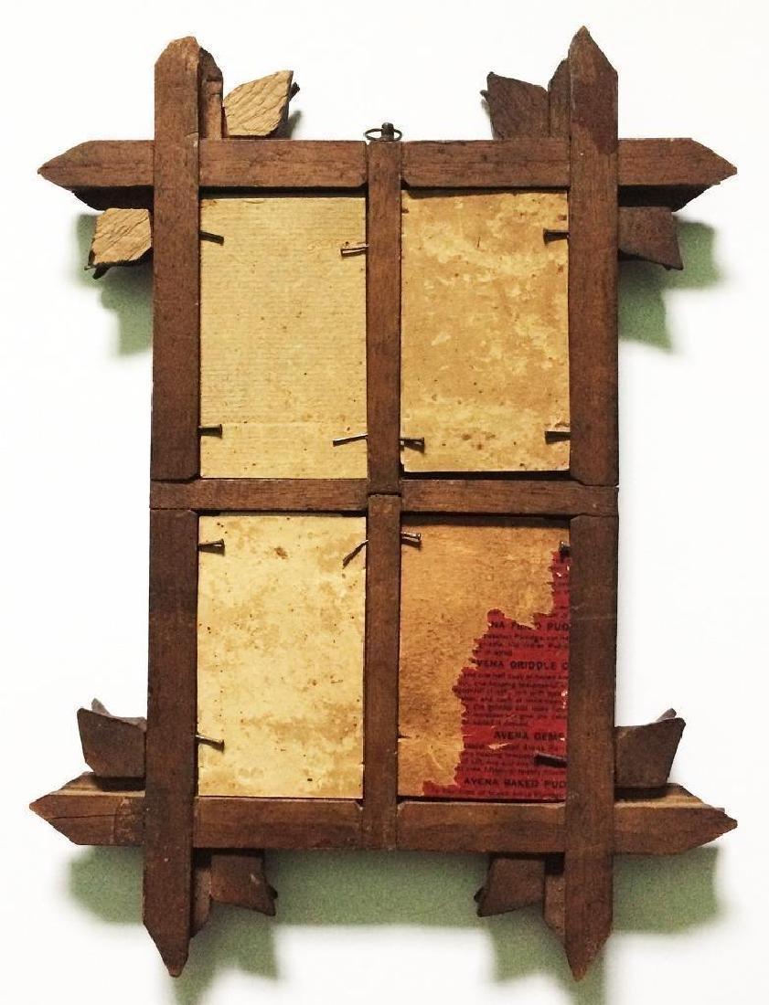 1860s Folk Art Hand Carved Wood Frame for 4 CDV - 2