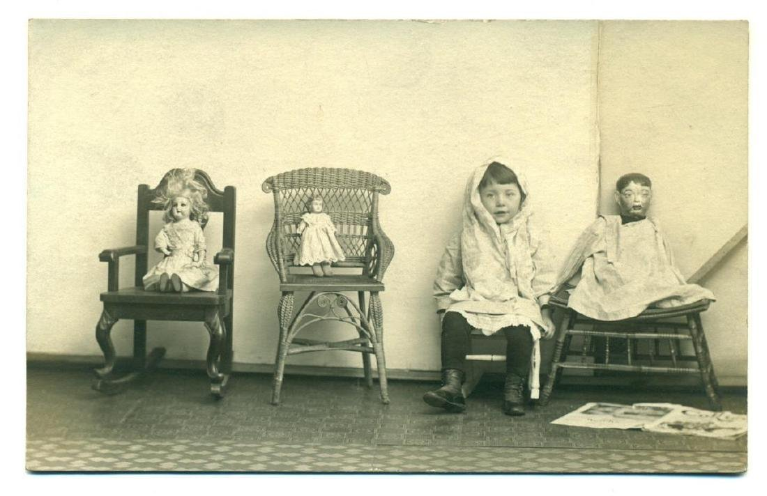 1915 Antique Doll on Chair in Row Child Mix Art Photo