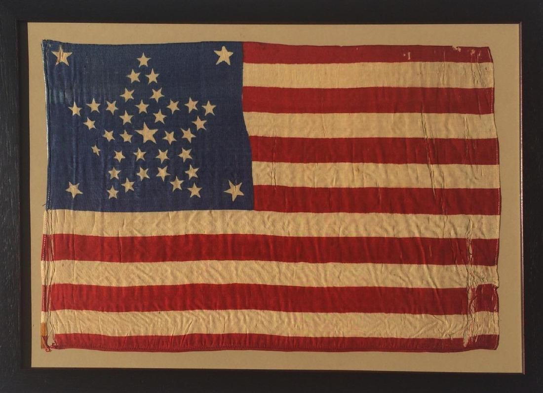1877 Vintage US American Silk Flag 38 Great Star