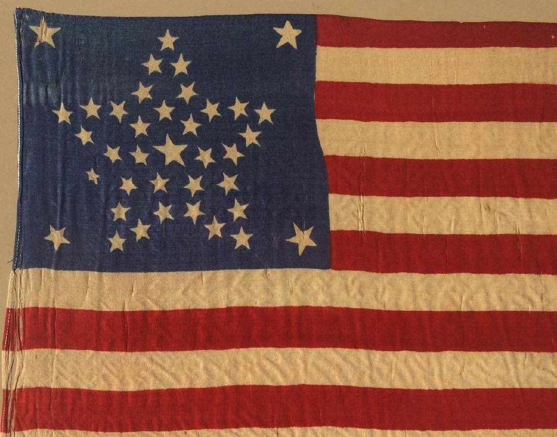 1877 Vintage US American Silk Flag 38 Great Star - 2