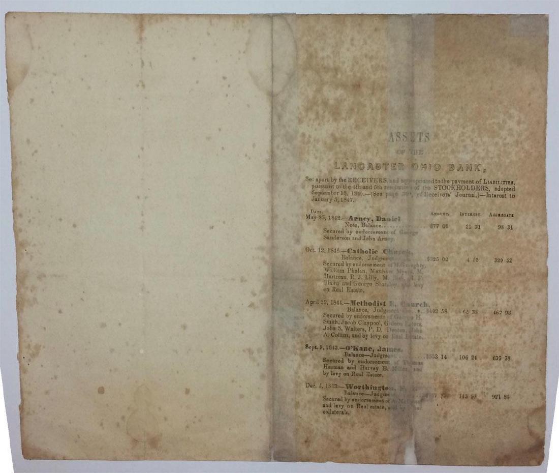 1847 Lancaster Ohio Bank Assets Print List Stockholder