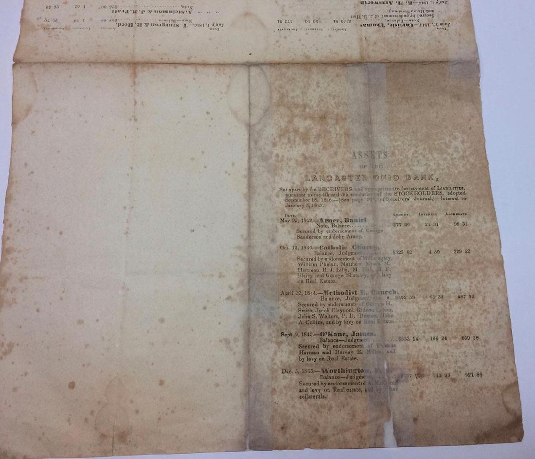 1847 Lancaster Ohio Bank Assets Print List Stockholder - 2