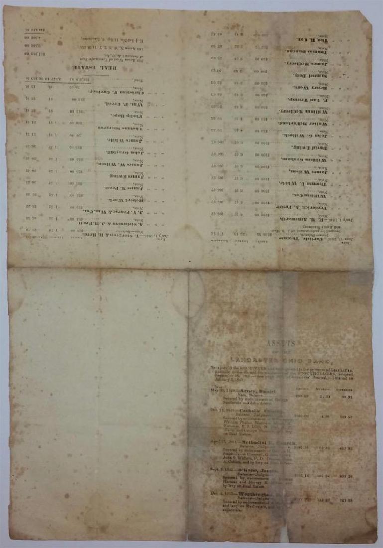 1847 Lancaster Ohio Bank Assets Print List Stockholder - 3